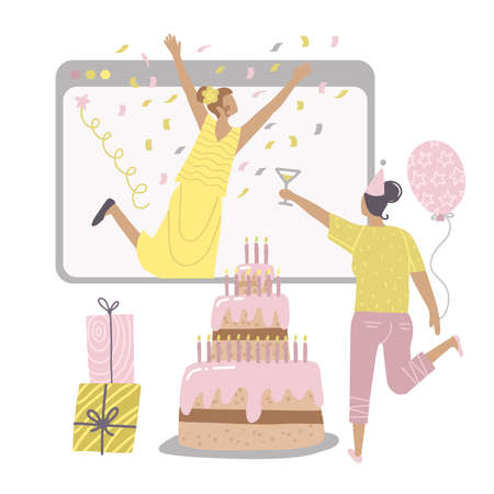 Online birthday party. Female Friends virtual call. Women Celebrating during quarantine self isolation. Big screen with cale and gift boxes. Vector flat hand drawn illustration.