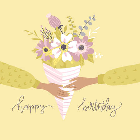 Two Hands holding a bouquet of flowers in paper packaging. Branches of eucalyptus,hydrangea, lily in pastel colors. Vector Flat illustration with floral composition with lettering Happy birthday.