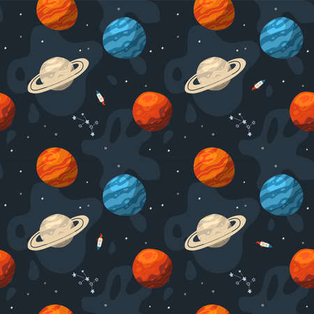 Seamless galaxy pattern with constellations and planets. Cosmic flat vector illustration, hand drawn endless background.
