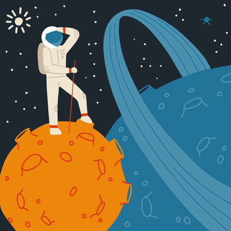 Red Planet with astronaut. Space tourism concept. Vector flat hand drawn illustration. Иллюстрация