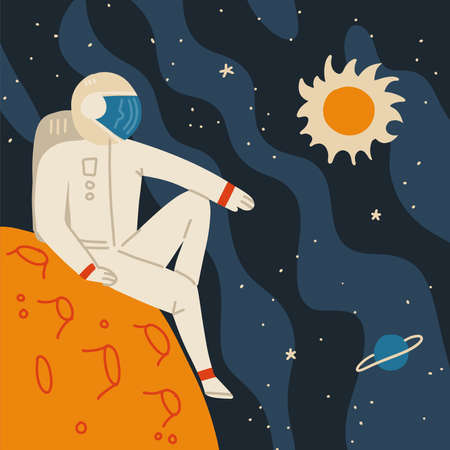 Astronaut in space suit having a rest on alien planet landscape. Cosmos travel in comfort. Space tourism concept. Flat vector illustration.