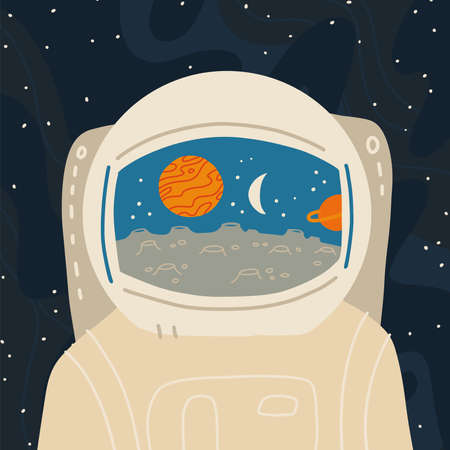 Astronaut close-up. Reflection in the helmet of the alien planet landscape with satellites. Vector flat hand drawn illustration.
