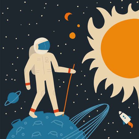 Walking on the moon spaceman with walking stick. Space tourism metaphor. Cosmos landscape with planets, stars and sun. Hand drawn flat vector illustration