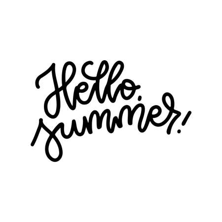 Hello Summer linear creative typography. Digital lettering balck on white poster. Vector line hand drawn design.