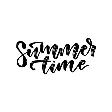 Summer time - Hand drawn lettering card. Vector black and white art. Vacation phrase. Ink hand drawn illustration. Modern brush calligraphy. Isolated on white background.
