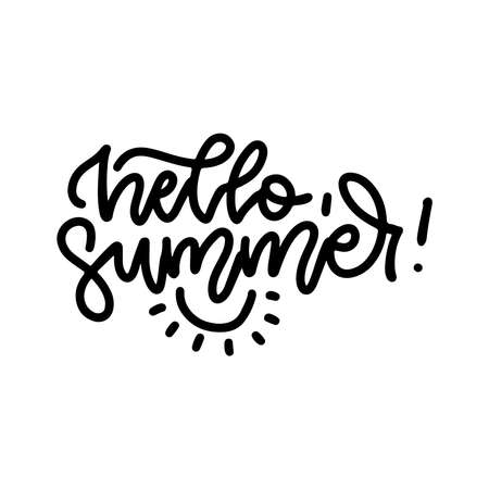 Hello Summer - linear lettering illustration. Fun quote hipster design   label. Hand lettering inspirational typography poster, banner. Vector concept.