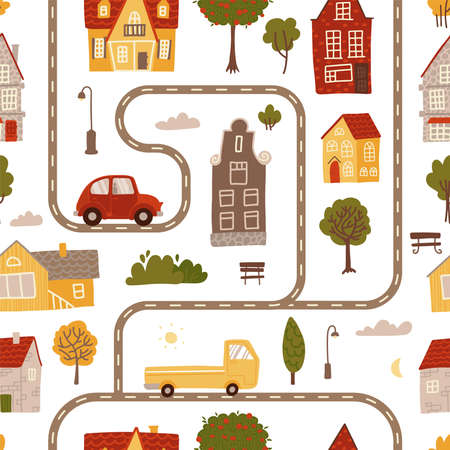 Seamless pattern with streets and roads, housesa and cars. Side view childish map. Summer town landscape. Flat vector illustration.