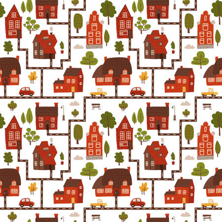 Cute city houses seamless pattern. Cartoon funny map cityscape with small brick buildings in scandinavian style, cars on streets, green summer trees. Flat hand drawn vector illustration