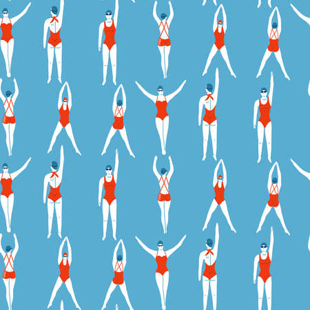 Female Swimmers in the pool seamless pattern. Sportive vector people in swimwear and gogles. Healthy lifestyle. Swimming athletes in the water. Flat vector illustratoin.