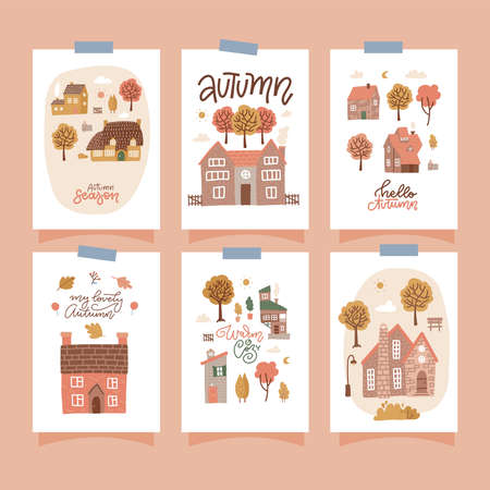 Set of cards with houses and yellow trees. Fall month, seasonal design with lettering texts. Cute Autumn cottages. Thanksgiving day. Vector flat illustration Vectores