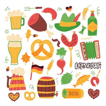 Clip art oktoberfest set - grilled sausage, sausage on a fork, glass of beer, beer can, german flag, soft pretzel, mustache, wood barrel isolated on white. Flat vector illustration.
