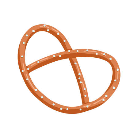 Appetizing Bavarian pretzel icon. Vector fat hand drawn illustration in cartoon style isolated on white background