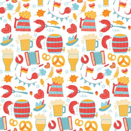 Cartoon colorful hand drawn Oktoberfest seamless pattern. Detailed backdrop with grilled sausage, hop, wooden beer mug, pretzel. Beer festival flyer, bar menu background. Flat vector illustration.
