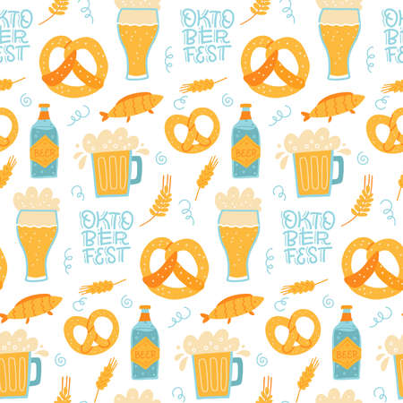 Trendy seamless pattern of oktoberfest lettering, pretzels and beer mugs. Flat hand drawn illustration. Vectores