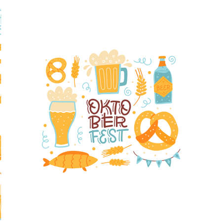 Lettering cisolated composition for Oktoberfest Bavarian festival. Banner with hand drawn word and glasses of beer, pretzels, fish and flags