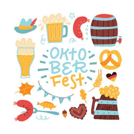Set of Oktoberfest hand drawn elements. Lettering Phrase inside square frame. Text in border of beer mug, pretzel, sausage, Bavarian flag garland. Beer festival greeting card template.