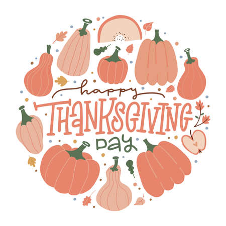 Autumn postcard with lettering quote - Happy thanksgiving day. Hand drawn pumpkins, leaves. Vectores