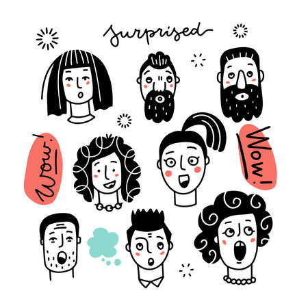 Set of various surprised women and men, mixed age and ethnic groups expressing amazed emotions. Hand drawn line art doodle vector illustration. Black on white