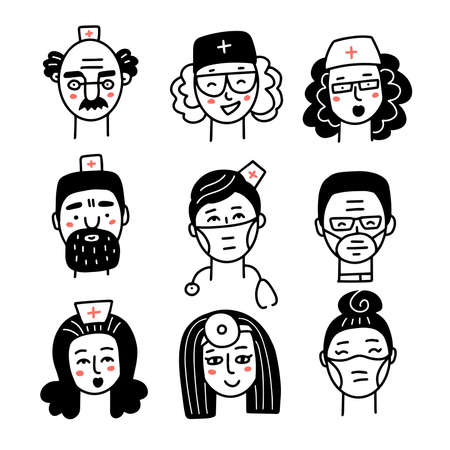 Doctor and nurse faces doodle icons set. Medical staff black linear avatars on white background. Vector hand drawn illustration