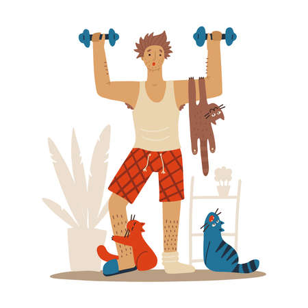 Sloppy Man with cats doing workoutat home. Cats interfere with sports. Humorous fitness motivation character doing exercise indoors, pets behave outrageously. Vector funny flat illustration.