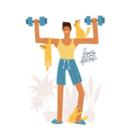 Young man doing wortout at home with naughty pets, man exercising with pets isolated on white. Home training. Stay home funny concept. Flat vector illustration. Vectores