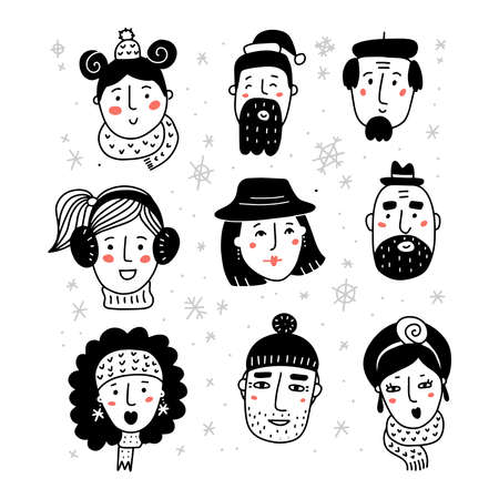 Hello winter set. Black and white Portraits of various women and men in warm beautiful hat and scarf. Hand drawn doodle collection of female faces. vector hand drawn illustration.