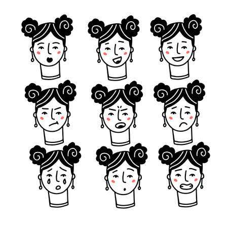 Female Faces expressions with feelings, moods, emotion. Set of one woman portraits. Happy, sad, angry, Surprised, shy, excited, suspense, intense and tired character face.Linear doodle vector sketch.