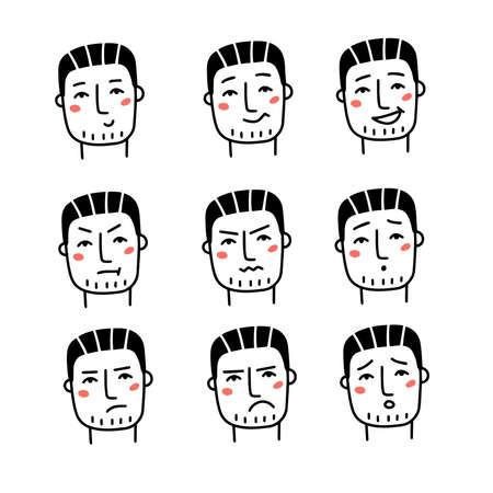 Set of various male emotions. Handsome man in different emotional head shots, symbolizing happy, sad, angry, depressed. Hand drawn line art doodle vector illustration. Ilustracje wektorowe