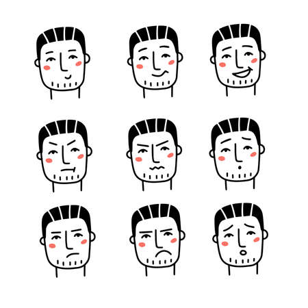 Set of various male emotions. Handsome man in different emotional head shots, symbolizing happy, sad, angry, depressed. Hand drawn line art doodle vector illustration. Vectores