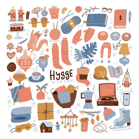 Winter hygge clipart set. Cozy winter flat hand drawn illustration