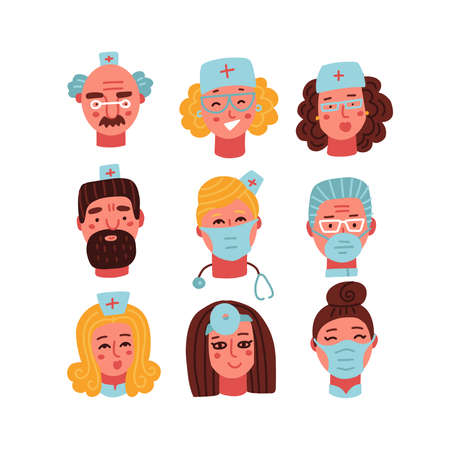 Medical clinic staff flat avatars of doctors, nurses, surgeon set. Vector cartoon portraits, account profile pictures, male and female. Hospital personnel. Vector illustration.
