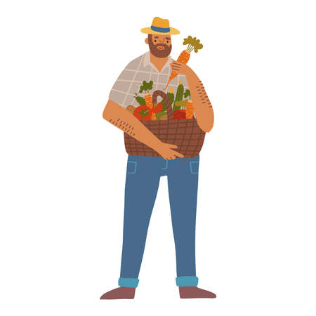 Gardener man in hat holding full basket of vegetables. hand drawn flat illustration. happy farmer and his harvest isolated concept. Vectores