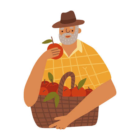 Cartoon character - old man farmer holding red apple with basket isolated on white. Standing and smyling male character in yellow plaid shirt. Flat vector illustration.