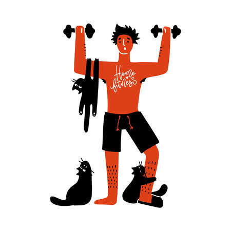 Home Fitness workout concept. Man exercises with cats isolated simple print. Home workout is difficult, as the pets actively interfere. Vector flat illustration with fun people activities
