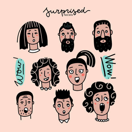 Surprised faces set. Man and woman Head Showing Facial Expression with Raised Eyebrows and Open Mouth . Vector color doodle illustration.
