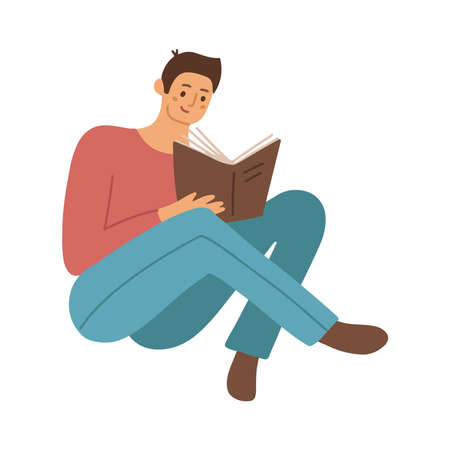 Smart student preparing for exam at home. Young man studying and reading book. Male reader sitting on floor and learning. Flat vector illustration isolated on white background