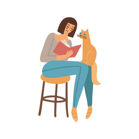 Pretty Woman is reading a book sitting on the stool, and the cat is sitting on her knees. Quarantine, stay home. Love reading concept. Modern flat vector illustration Vectores