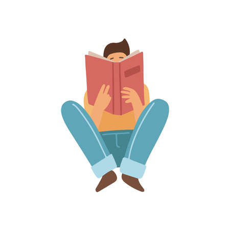 Guy sitting on a floor and reading a book isolated on white background. Front view. Book lover isolated concept. Vector illustration in a flat cartoon style.
