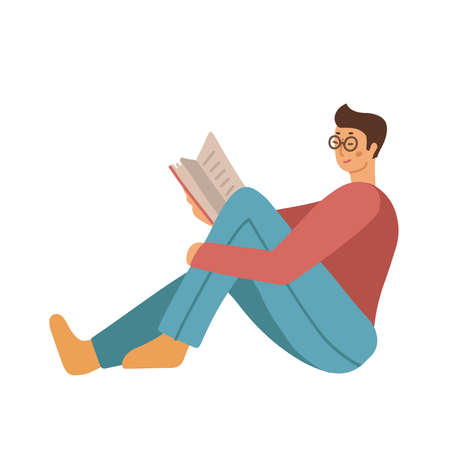 Teenage man in casual clothing and eyeglasses sitting at floor and reading book. Isolated flat vector illustration on white background. Education, library related design element