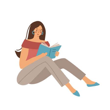 Dark hair woman reading a book. Vectores