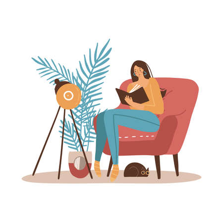 Girl with cat reading book. Younf Woman sitting in big armchair and read. Cozy home interior furniture. Flat cartoon Vector illustration. Vectores