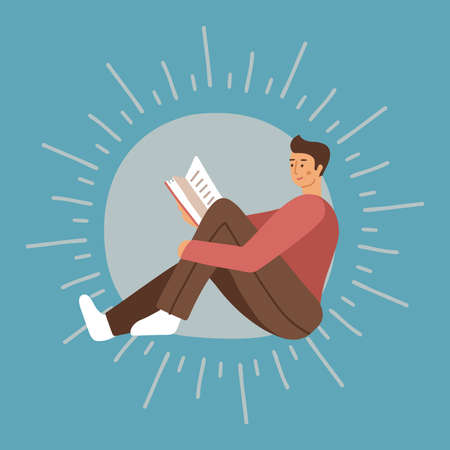 Young man holding a book and enjoying reading. Studying male character on background with rays. Modern flat vector illustration