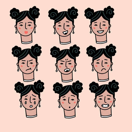 Teenage woman portrait with different facial expressions set isolated on beige background. Young girl smiling, surprised, happy, smiling, idea, kind, angry, greeting emotion face vector character. Vectores