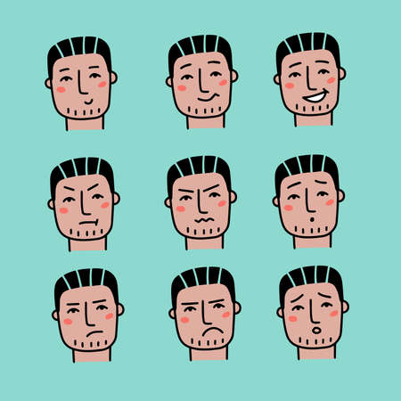 Face expressions of handsome man with dark hair. Nine different male emotions set. Young guy doodle cartoon character. Vector hand drawn illustration isolated on white background.