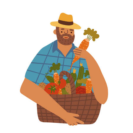 Middle aged man-farmer with beard wearing denim and hat with basket of different vegetables. Vector flat hand drawn illustration Vectores