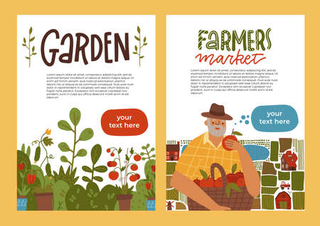 Gardening A4 banner set. Idea of local farming and harvesting. Fruit and vegetable Organic harvest. Leaflet for farmers market. Isolated flat vector illustration with lettering Vectores