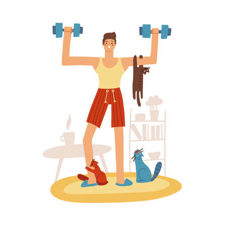 Attractive young man doing a home workout. tree naughty cats are sitting on hin and diverting. The guy lifts a dumbbells. Funny Home workout. Vector flat illustration.