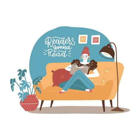 Young woman relaxing on yellow sofa and reading book at home. Vector hand drawn flat illustration Vectores