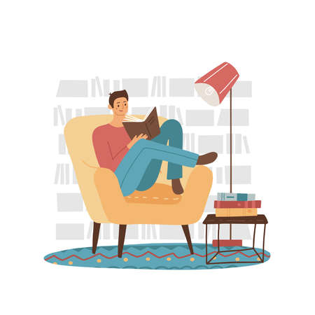 Young man reader, male student character sitting at armchair reading book with bookshelf background. Cozy home or modern library interior. Education, learning concept. Flat vector illustration.