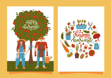 Happy harvesting cards. Set of vertical banners with smiling farmers harvesting. Fresh natural products. Local agriculture market. Organic eco food. Vector flat cartoon men and woman characters.